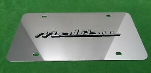Chevy Malibu Logo-Script Stainless Steel License Plate OEM Logo