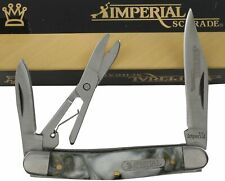 Imperial Schrade Black White Swirl Pocket Knife Scissors IMP43 2 Folding Blades