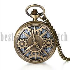 Steampunk Retro Skeleton Gear Case Pocket Watch Pendant Necklace Chain Bronze