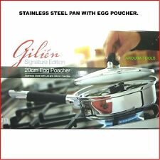 STAINLESS STEEL SAUTE PAN WITH EGG POACHERS - BRAND NEW.