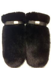 Mink Fur Mittens With Leather Saga Furs Adjustable on Wrist