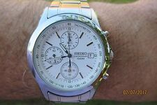 Seiko Chronograph tachymeter date 7T92 0cw0  lovely white from august 2005 vgc