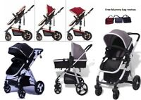 3in1-Combi-Stroller Travel System Baby Pram Pushchair & Cover Aluminium 3 Color