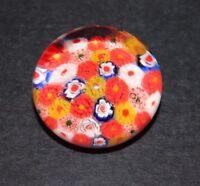 "Vintage Millefiori Art Glass Mini Paperweight White Blue Orange Yellow Canes 2"""