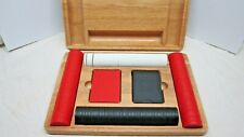 Vintage Marlboro Poker Set w/ 2 Decks Of Cards and Poker Chips In Wood Case