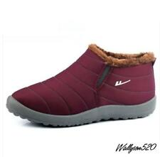 winter Mens Waterproof fur lined slip on casual snow boots cotton shoes