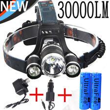 30000LM CREE XML T6 LED 18650 POWER Headlamp Headlight*2PCS Charger*2x Battery