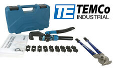 TEMCo HYDRAULIC WIRE LUG TERMINAL CRIMPER TOOL & ELECTRICAL CABLE CUTTER SET