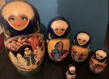 Vintage Russian Nesting Dolls Signed & Hand Painted - Winter Scene