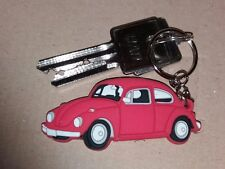 VW Beatle KEYRING KEY RING Schlüsselring Porte-clés RED  pvc Beatle bug Herbie