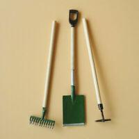 3Pcs 1:12 Dollhouse Miniature Home Gardening Tools Shovel Craft Rake Hoe F2Y9