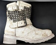 ASH TITAN Factory Distressed Off White Leather Biker Boot Women US 5 No Wear