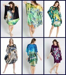 Seide Damen lang Oversize Nachthemd Tunika Kleid Poncho Kimono mit Kunst-Druck