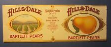 Old Vintage 1910's - HILLS-DALE Pears - Can LABEL - Emery Food Co. Chicago
