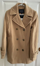 Lands End NWT 8T TALL Camel Color Pea Coat SOFT Wool Blend Double Breasted Lined