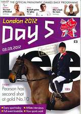 PARALYMPIC GAMES DAY 5 FIVE DAILY PROGRAMME LONDON 2012