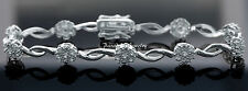 Women's Genuine 1.00 Ctw Diamond 14k White Gold Finish Flower Bracelet