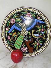 ANTIQUE HAND PAINTED FIGURAL FAIENCE POTTERY BIRD PLATTER SPAIN SIGNED 14''