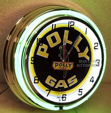 """18"""" POLLY Gasoline Motor Oil Gas Station Sign Double Neon Clock"""