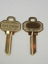 2 Original Baldwin Key Blanks 6 Pin
