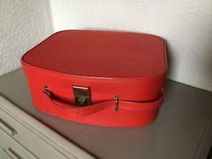 Vintage 1960s Red Vanity Case Overnight Suitcase #6433