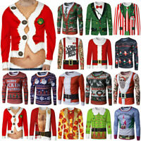 Mens Christmas Xmas Ugly Sweater T-Shirt Muscle Santa Claus Elf Sweatshirts Tops