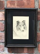 1930's Original Etching Of Collie Dog By Marguerite Kirmse. Signed