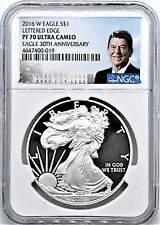 2016-W Proof Silver Eagle NGC PF70 30th Anniversary Ronald Reagan Edge Lettering