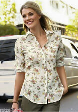 Geblümte Langarm Damenblusen, - tops & -shirts aus Baumwolle