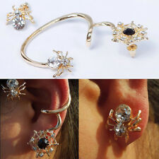 Gold Plated Spider Earring Cuff Asymmetrical Ear Stud Diamond Jewelry Exaggerate