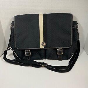 Coach Mens 70182 Voyage Black Signature Crossbody SM Messenger Bag Pre-loved