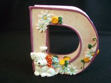 Mary Engelbreit resin Letter D puppy dog dragonfly flowers cherries purple 1999