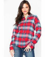 Wrangler Womens L/S Button Red Plaid Boyfriend Flannel Western Shirt NWT