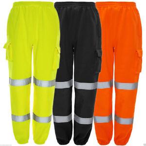 Mens Hi Viz Vis Work Fleece Bottoms Safety Sweat Pants Jogging Trousers Joggers