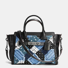 NWT Coach Swagger 27 in Canyon Quilt Denim Handbag