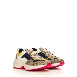 GUCCI 830$ GG Rhyton Sneaker In Beige/Ebony Original GG Canvas