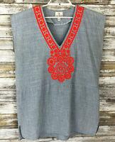 Julie Brown Womens Top Sz M Sleeveless Blue Striped Orange Crochet Detail V-Neck