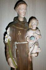 ANCIENNE STATUE RELIGIEUSE/SAINT ANTOINE ET ENFANT JESUS/PLATRE PEINT/H.45 cm