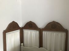 More details for beautiful antique carved wood folding screen 3x fabric curtain panels