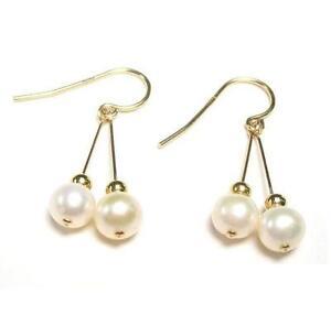 7-8MM AAA  White Pearl 14K Gold Filled Double Dangle Hook Earrings