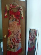 """""""Save The Queen"""" floor length stretch print dress, size S, made in Italy"""