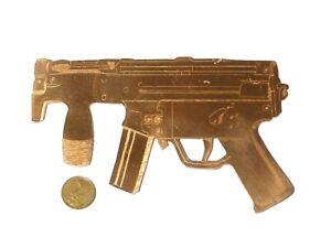 "Vintage Copper Plaque Engraved SMG Gun Wall Decoration Badge 6.25"""