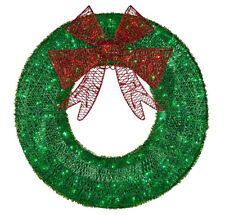 CGC 60cm Green & Red Bow Large Pre lit LED Green Christmas Wreath Light