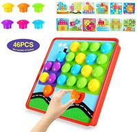 YDPlaier Button Art, Puzzles for 2 year old  3 year old,Color Matching Pegboard