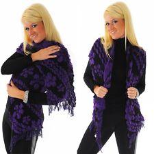 Großer Schal XXL Umschlagtuch Muster Stola schwarz lila violett R80021