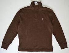 NWT men's POLO RALPH LAUREN Pullover 1/2 Zip Sweater, L, Large, Nutmeg Brown