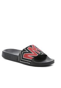 Women MK Michael Kors Gilmore Slide Slip On Sandals Rhinestone Black/Red Multi