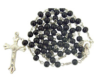 Black Catholic Glass Beads Rosary, 6mm Beads, Great for Women or Girls