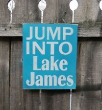 Hand Painted JUMP INTO LAKE ... PERSONALIZED YOUR LAKE  WOOD SIGN  Typography