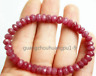 """Handmade 5x8mm Faceted Natural Red Ruby Jade Beads stretchy Bracelet 7.5"""""""